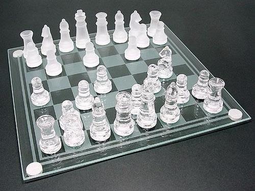 ajedrez de cristal tablero grande  35cm decoracion coleccion
