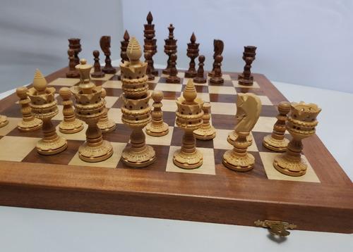 ajedrez de la india atltanta con caja tablero madera
