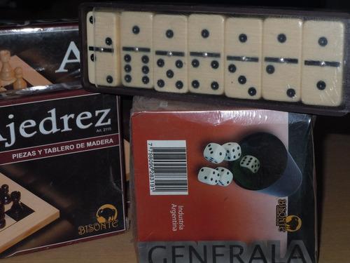 ajedrez+domino+cubilete con dados - combo -bisonte- muy buen