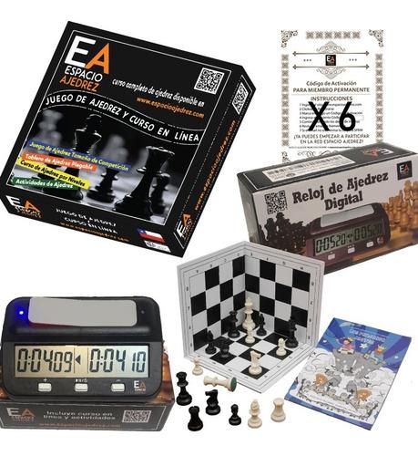 ajedrez+reloj digital+libro + ¡6 membresías espacio ajedrez!