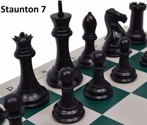ajedrez staunton 7 cuádruple marion en negro y b. rey 10,2cm