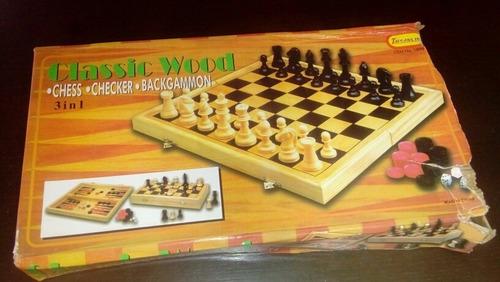 ajedrez tablero de madera juego de mesa 3 en 1