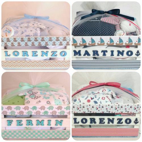ajuar bebe toallon 9 productos cajas personalizadas regalo