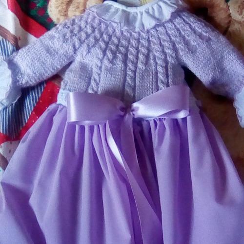 ajuar para bebes faldellines  en crochet y tela
