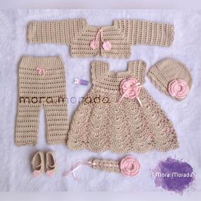 6e4ce808e4c Ajuar Tejido A Crochet Para Niña | Conjunto | Ropa De Bebes