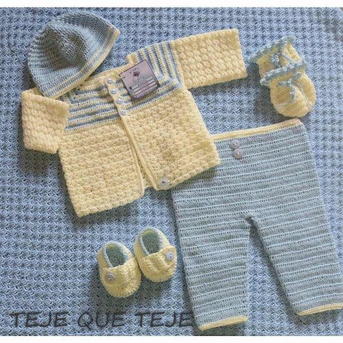 ajuar, tejido a mano para recien nacido. crochet. tejequetej