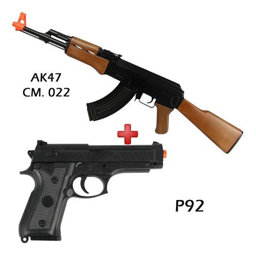 ak47 rifle fuzil aeg cyma cm.022 + pistola spring p92 barato