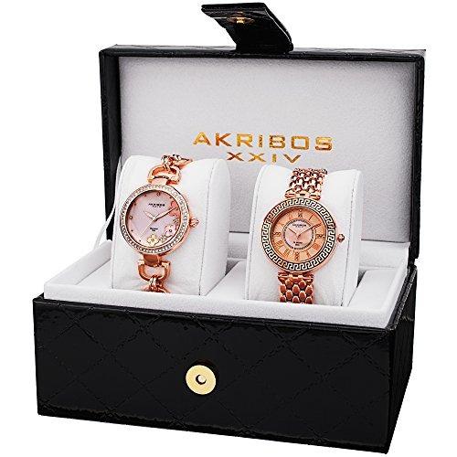 ak886rg diamante genuino cuarzo rosa pulsera de reloj de or