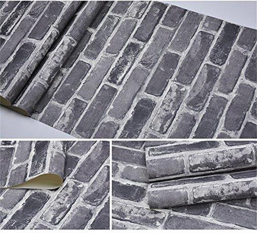akea gris de ladrillos de papel tapiz rollo, efecto 3d falso
