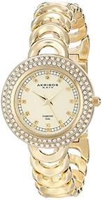 Xxiv Con Dorado Ak804yg Mujer Metal De Akribos Es Para Reloj knwPO80