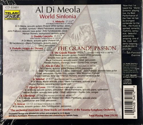 al di meola - the grande passion - cd import. telarc lacrado