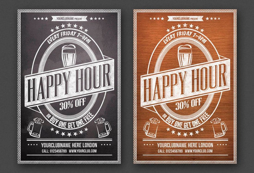 al5yh 6 posters happy hour editables photoshop bar folleto