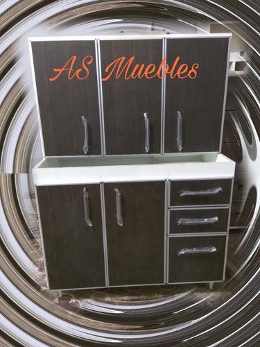 alacena + bajomesada con aluminio 1mt. somos fabricantes