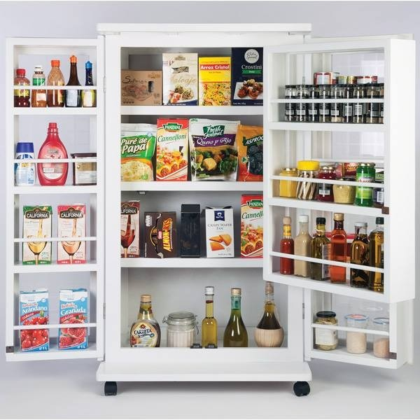 Alacena blanca ahorra espacio gabinete porta microondas for Muebles para despensa cocina