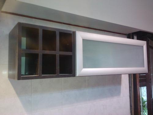 alacena combinada vidrio y melamina 80 x 60 x 30