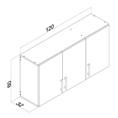 alacena de 3 puertas doble estante color blanco