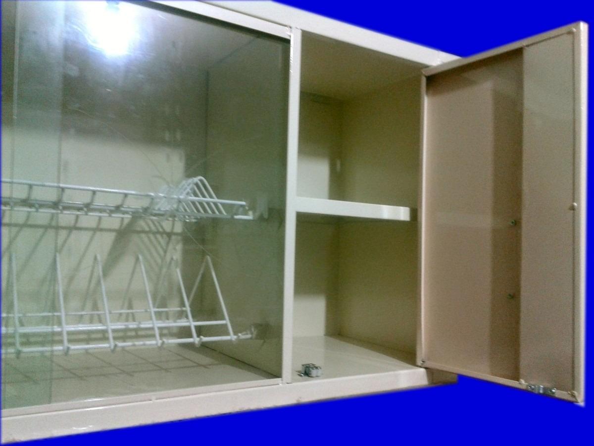 alacena de cocina metalica horizontal con locero 239