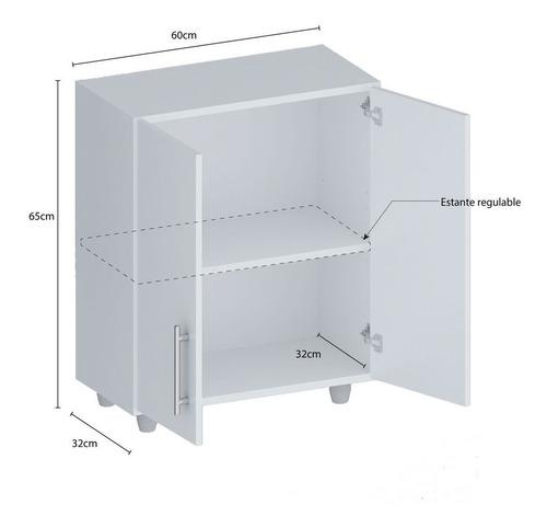 alacena o bajo mesada para piso o colgado para cocina modulo 2 puertas de acrilico  t6blmac envio sin cargo caba y gba