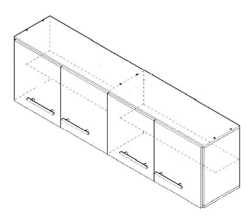 alacena orlandi 1,60 mt. blanca o blanco/wengue 4 puertas