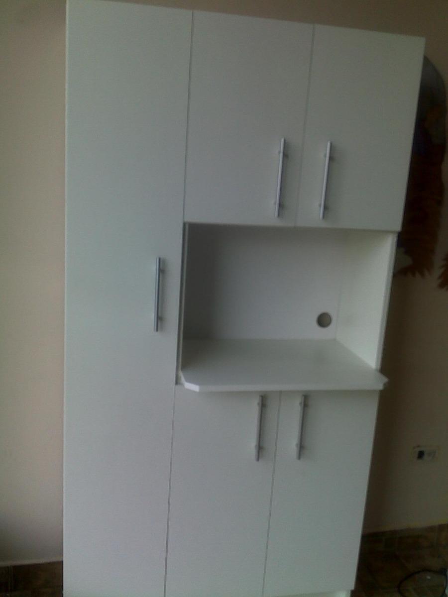 Alacena para cocina grande para microondas en color blanco for Puertas para muebles de cocina baratas