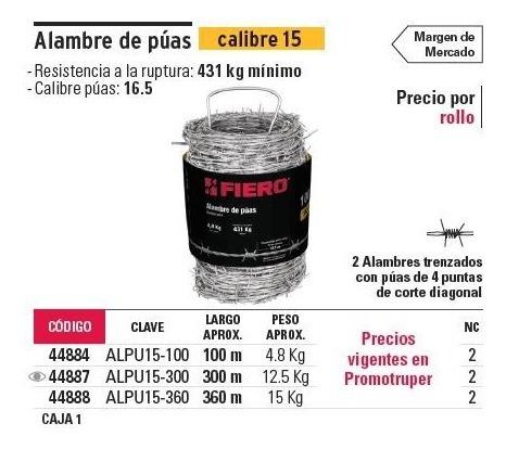 alambre de puas cal. 15 300 mt fiero 44887