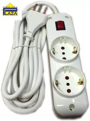 alargue conatel con interruptor 2 schuko 4 modulares 3 mts