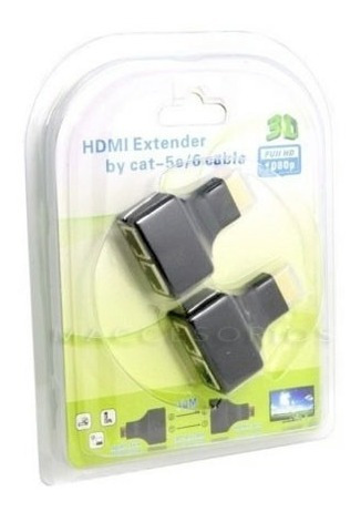 alargue hdmi por utp extension 30 metros 1080p full hd 3d