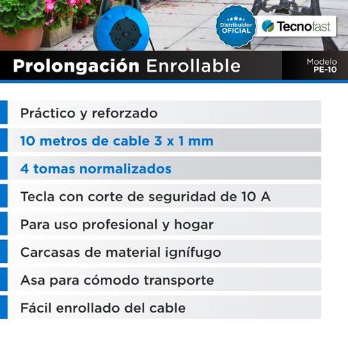 alargue zapatilla prolongador enrollable carrete 10m 4 tomas