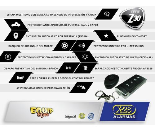 alarma auto x-28 z30 rh + kit cierre centralizado universal sin instalacion