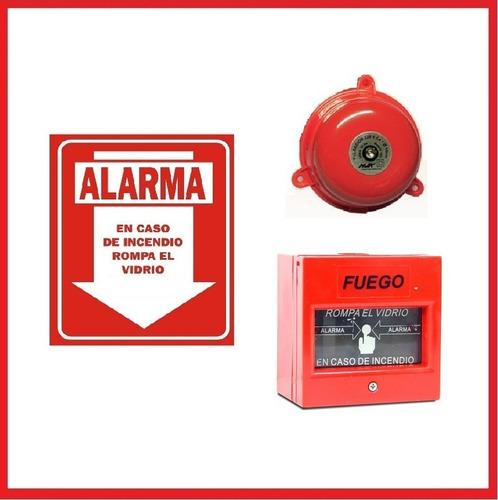 alarma contra incendio campana + pulsador y cartel
