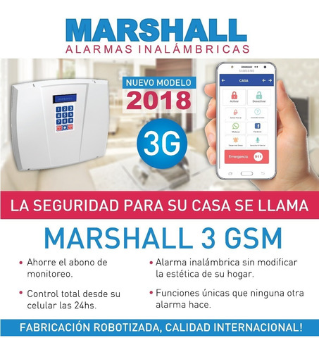 alarma domiciliaria inalambrica kit casa marshall 3 gsm e