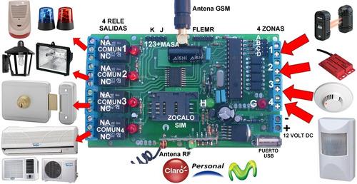 alarma gsm backup celular auto moto casa 4 entradas 4 salida