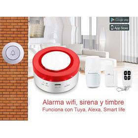 Alarma Inteligente Wifi , Sirena Y Botón De Timbre
