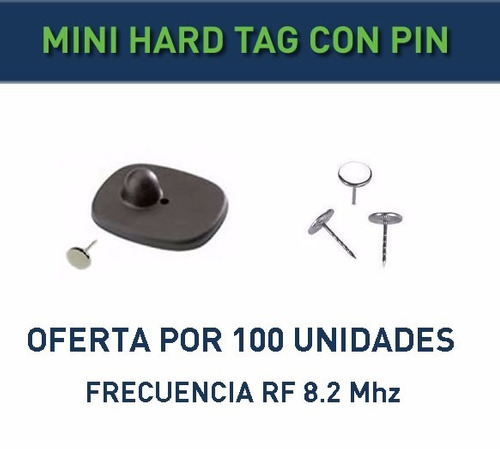 alarma p/ ropa, etc mini hard tag con pin rf 8.2mhz. oferta!