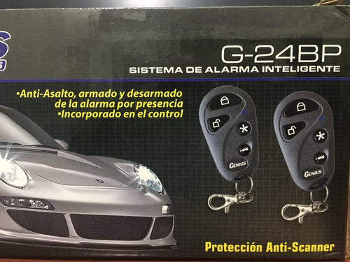 alarma para carros genius g-24 bp. transceiver incorporado.