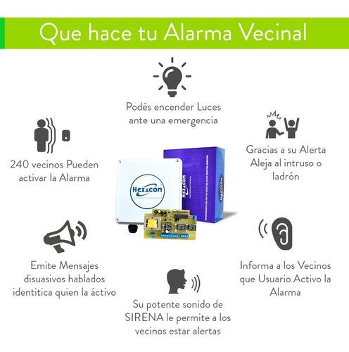 alarma vecinal domiciliaria inalambrica barrial sirena 30w
