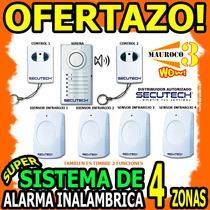 Wow Alarma Inalambrica 4 Sensores 2 Controles Secutech 4zona