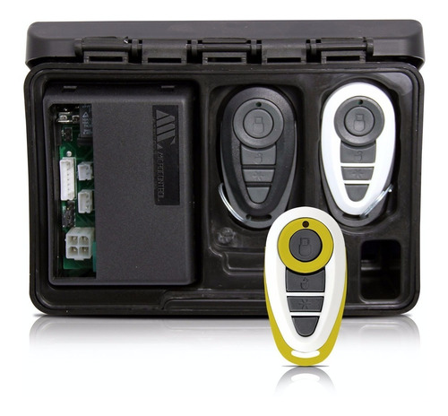 alarme automotivo carro amx-908 + capa branca amarela