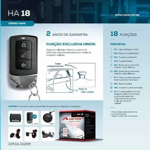 alarme automotivo hinor ha-18 com 2 controles