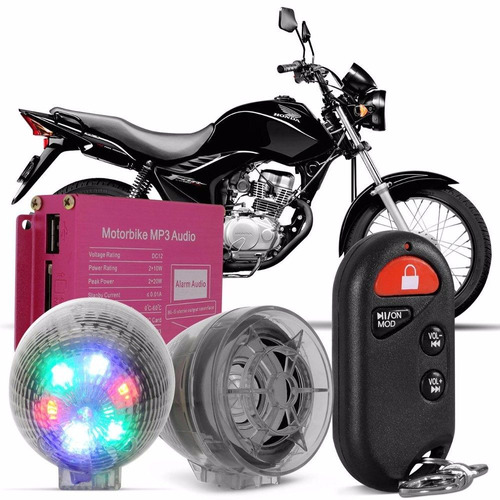 alarme moto som mp3 player usb sd mmc fm com leds universal