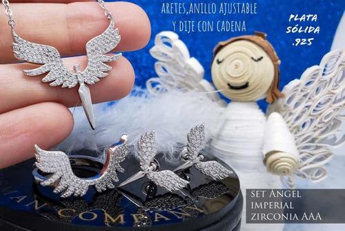 alas de ángel juego de aretes,  collar,  dije y anillo