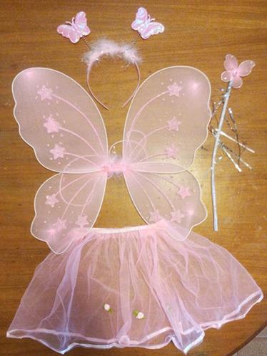 alas de mariposa varita cintillo y falda disfraz carnaval