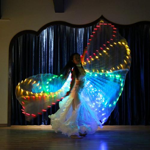 alas isis lámpara led con palo traje luminoso de danza de