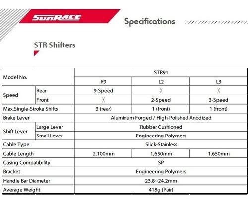 alavanca passador manete sti sunrace 2x9v str91 speed r90 nf