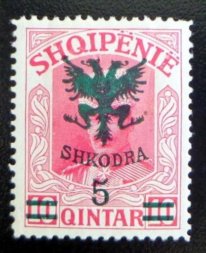 albania, sello sc. 126 zu wied 5q sobre 10q 1920 nuevo l7587