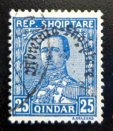 albania, sello sc. 232 resello 1928 usado l7573