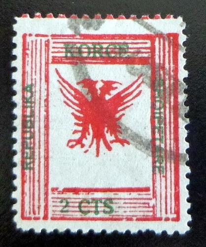 albania, sello yv. 53 águila 1917 falso usado l7579