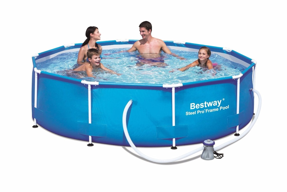 Alberca bestway 12 pies x 30 39 39 steel pro round frame pool for Cuanto sale construir una alberca
