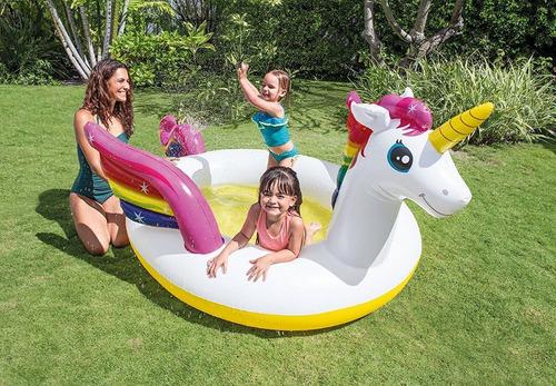 alberca de unicornio para niños grande con difusor de agua
