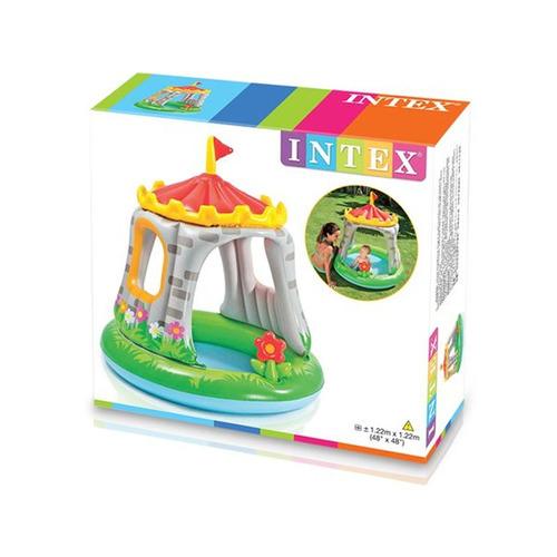 alberca inflable en forma de castillo con techo niños intex